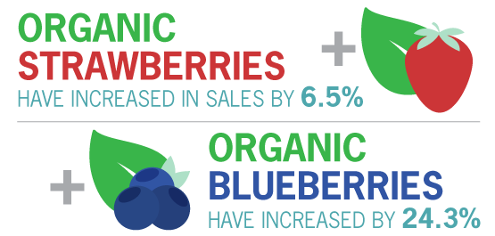 Organic strawberries have increased in sales by 6.5%. Organic blueberries have increased by 24.3%.