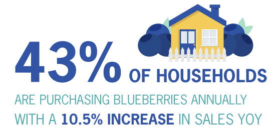 43% of households are purchasing blueberries annually with a 10.5% increase in sales YOY.